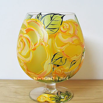 Vase decorative brandy glass Yellow roses Unique gift Hand painted vase Tea light Candle Holder Kitchen vase Gift for her Rose Candy Holder