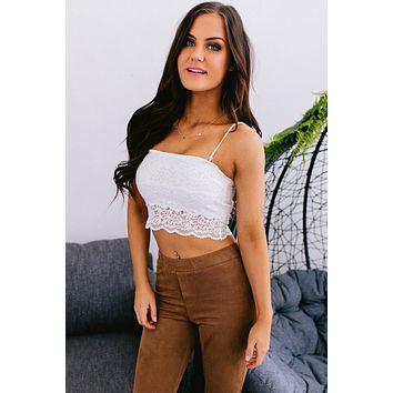 Add Some More Lace Crop Top (Ivory)
