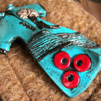 Ottoman Caftan (Power Dressing) Brooch in Turquoise