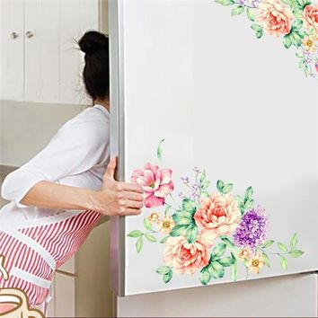 Sweet Flower Vine bathroom Toilet Stickers Kitchen Refrigerator Cupboard Computer Decor Wall decals for toilet Mural Poster