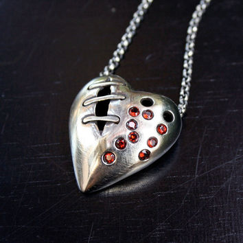 My bloody valentine sutured heart necklace by idlehandsdesigns