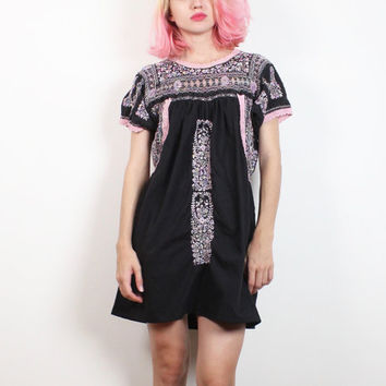 Vintage Mexican Dress Faded Black Cotton Embroidered Floral Oaxacan Dress Pale Pastel Pink Purple Hippie Dress Festival Boho S M Medium L XL