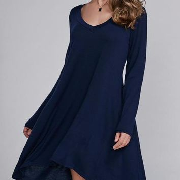 Women's Stunning Flowy Navy Long Sleeve Shift Dress Asymmetrical Hem
