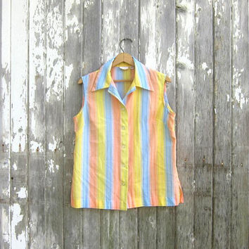 60s Retro Sleeveless Blouse Collared Tank Top Button Up Yellow Pastel Striped Casual Preppy Hipster Summer Shirt Vintage Womens Large