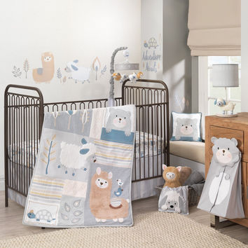Lambs Ivy Happi by Dena Little Llama 6 PC Baby Crib Bedding Set w/ Bumper Mobile