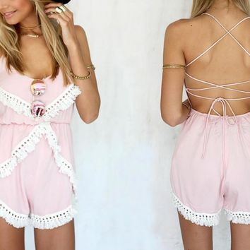 Sexy backless condole tassel pink jumpsuits