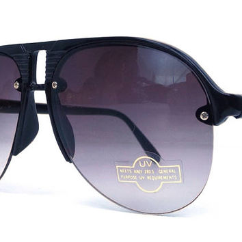 vintage 80's deadstock aviator sunglasses half rim plastic frames black sun glasses eyewear oversized men women retro purple gradient 144