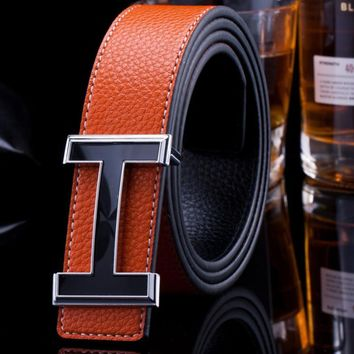 Hermes wild men and women H letter belt leather belt orange