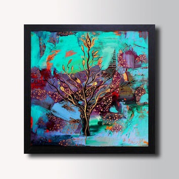 Abstract Fantasy Painting - Turquoise Canvas Print - Modern Landscape, Contemporary Art, Home & Wall decor