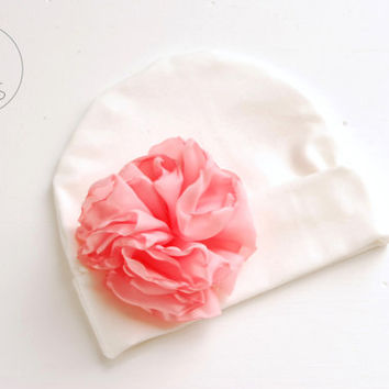 Newborn outfit newborn baby girl IVORY hat with Oversized FLOWER baby hat baby hat newborn baby hospital hat baby hat