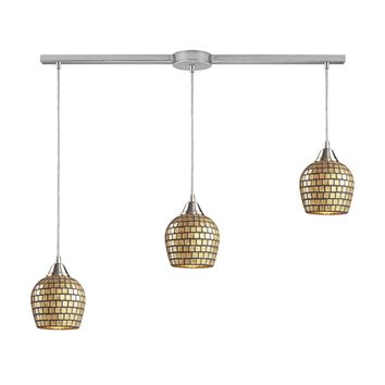 528-3L-GLD Fusion 3 Light Pendant In Satin Nickel And Gold Leaf Glass