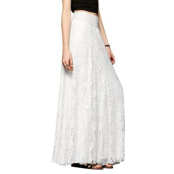 Fashion White Long Skirts Women High Waist Hollow Out Maxi Skirt Femme falda Casual Ladies Elastic Waist Lace Party Skirts 2017