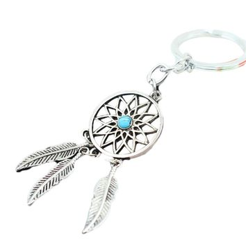 1 pcs 2017 7New Hot Ancient silver Dreamcatcher Keychain Leaf feather tassel dream catcher Key chain Ring