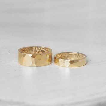 20% OFF Set of 2 Hammered Fingerprint Bands - His and Hers Actual Fingerprint Rings - Promise Rings - Couple Rings - FR02H.FM