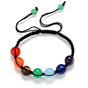 7 Colorful Natural Stone Beads Crystal Chakra Bracelet For Women Braided Rope Bead Bracelets Reiki Spiritual Yoga Jewelry