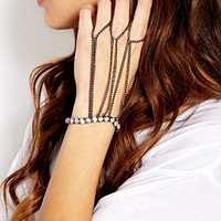 FOREVER 21 Futuristic Multi-Finger Handchain Dark Grey One
