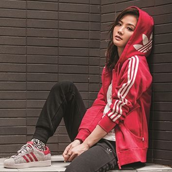 """Adidas"" Hooded Zipper Cardigan Sweatshirt Jacket Coat Sportswear"