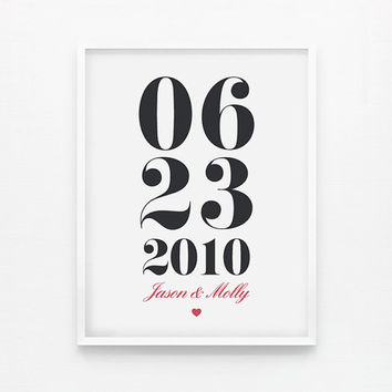 Personalized Custom Anniversary or Wedding Date or Special Date Print 8 x 10