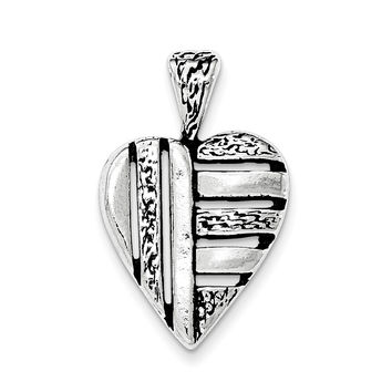 Sterling Silver Antiqued Heart Chain Slide Pendant