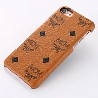 MCM 2018 new iPhone6 mobile phone case 7plus protective cover 6p leather case 8x F0623-1 brown