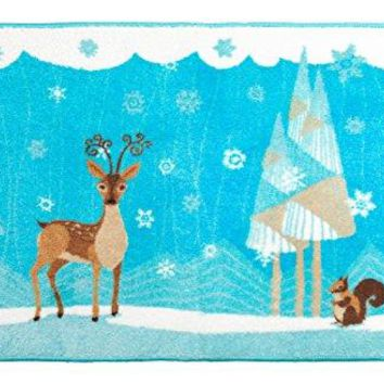 Merry Christmas Bathroom Wish Collection Holiday Bath Mat (20 inch  x 30 inch ) - Friendly Winter Forest