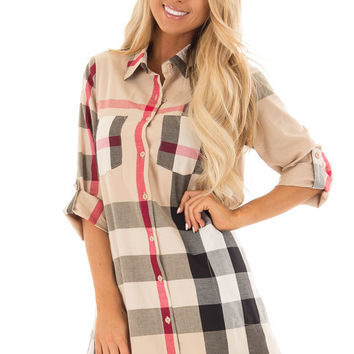 Khaki Plaid Button Up Dress with Pockets