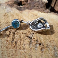 baseball glove and ball  belly button ring by sindys on Etsy