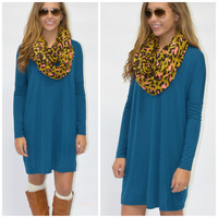 SZ LARGE Everest Eves Teal Solid Long Sleeve Dress