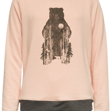 Full Tilt Bear Forest Girls Sweatshirt Coral  In Sizes