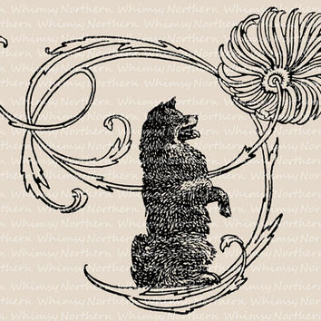 Vintage Dog and Flower Clip Art Image – Illustration from 1909 Children's book – Printable Graphic – instant download - CU OK img 3018