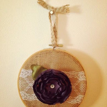 "6"" Burlap Embroidery Hoop with Handmade Purple Fabric Flower and Lace Ribbon"