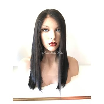 Straight Human Hair Multi-Parting Lace Front Wig - Terri