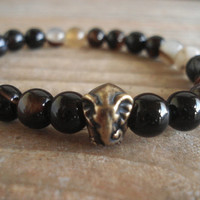 Bronze Elephant Bracelet with Black Agate Beads, For Him