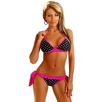 Pin-Up Polka Dot Pucker Back Bikini