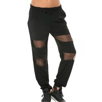 Drawstring Jogger Pants with Sheer Detail in Black