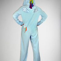 My Little Pony Rainbow Dash Footed Hooded Adult Pajamas