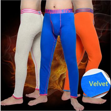 Solid  For Men  Winter Velvet Solid  Thermal Underwear  Warm Cotton Thermo Underwear Long Johns Underpants