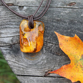 Unique Stone Pendant Necklace Eco-Friendly Gift for him Honey Baltic Amber Huge Pendant Leather Fall Fashion Orange Yellow