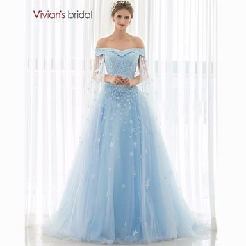 Blue Wedding Dress Strapless Flower Lace Tulle A Line Bridal Wedding Gowns