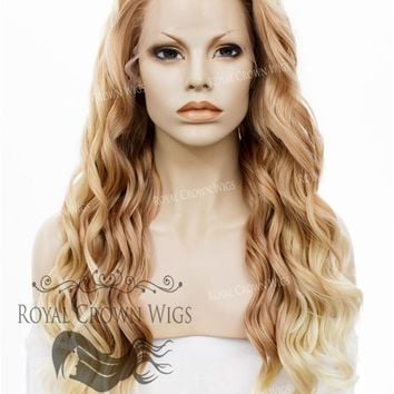 """24"""" Synthetic Lace Front with Wave Texture in Golden Blonde to Light Blonde Ombre"""