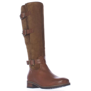 Clarks Tamro Marina Multi Strap Buckle Tall Boots - Brown Combo