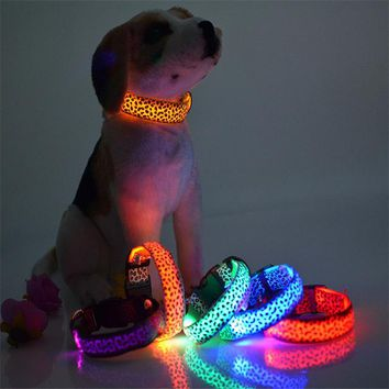Fashion Leopard LED Dog Collar Flashing In Dark Nylon 3 Mode Lighting Safety