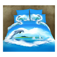 3D Queen King Size Bed Quilt/Duvet Sheet Cover Cotton reactive printing 4pcs 1.5M bed 06