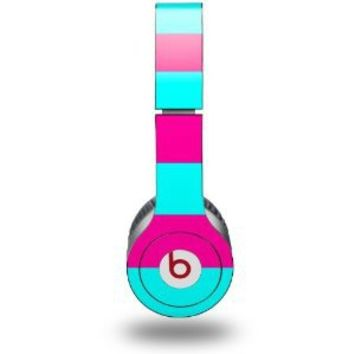 Psycho Stripes Neon Teal and Hot Pink Decal Style Skin fits Beats Solo HD Headphones - (HEADPHONES NOT INCLUDED)