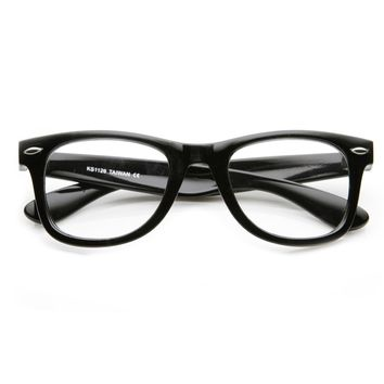 Classic Thick Frame Clear Lens Basic Horn Rimmed Glasses