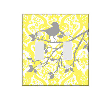 Yellow and Gray Switchplate Double or Single Cover You Are My Sunshine