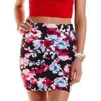 Multi Floral Print Bodycon Mini Skirt by Charlotte Russe