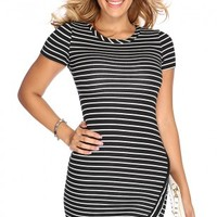 Black White Stripe Asymmetrical Dress