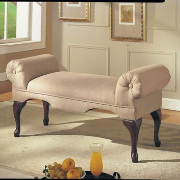 Aston Beige Mfb Bench w/Rolled Arm