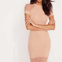 Missguided - Fishnet Sleeve Bodycon Dress Nude